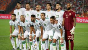 لاعبو المنتخب الجزائري خلال نهائي كأس الأمم الأفريقية 2019 أمام السنغال بالقاهرة.