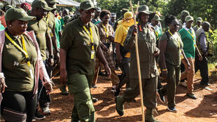 "Ugandan President Yoweri Museveni (front 3rdR) walks during the first day of a 6-day trek, covering a distance of 195km, called ""Africa Kwetu"" (Africa our homeland) in Galamba, about 30km North of Kampala, Uganda, on January 4, 2020. Museveni and other participants including veterans and Members of Parliament, march through the jungle as he retraces the route which his guerilla forces took 35 years ago."