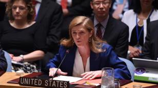 L'ambassadrice américaine auprès des Nations unies, Samantha Power, après le vote favorable du Conseil de sécurité sur l'accord avec l'Iran.