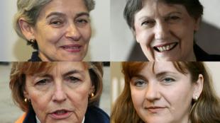 En haut : la directrice générale de l'Unesco Irina Bokova et la responsable du PNUD Helen Clark. En bas : la Croate  Vesna Pusic et la Moldave Natalia Gherman, deux ex-ministres des Affaires étrangères.