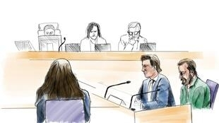 A court sketch by artist Johan Hallnas shows the defendant Daniel Nyqvist (front right), accused of committing a double murder in 2004