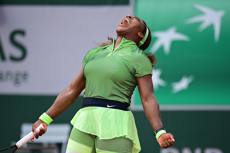 Victory roar: Serena Williams celebrates winning against Mihaela Buzarnescu
