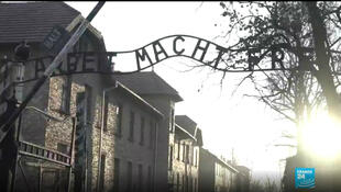 "More than 1.1 million men women and children - most of them Jews - perished at Auschwitz-Birkenau concentration camp. At the entrance, a sign says ""arbeit macht frei"", meaning ""work sets you free"", but which was far from the truth for the many people who were killed at the camp."