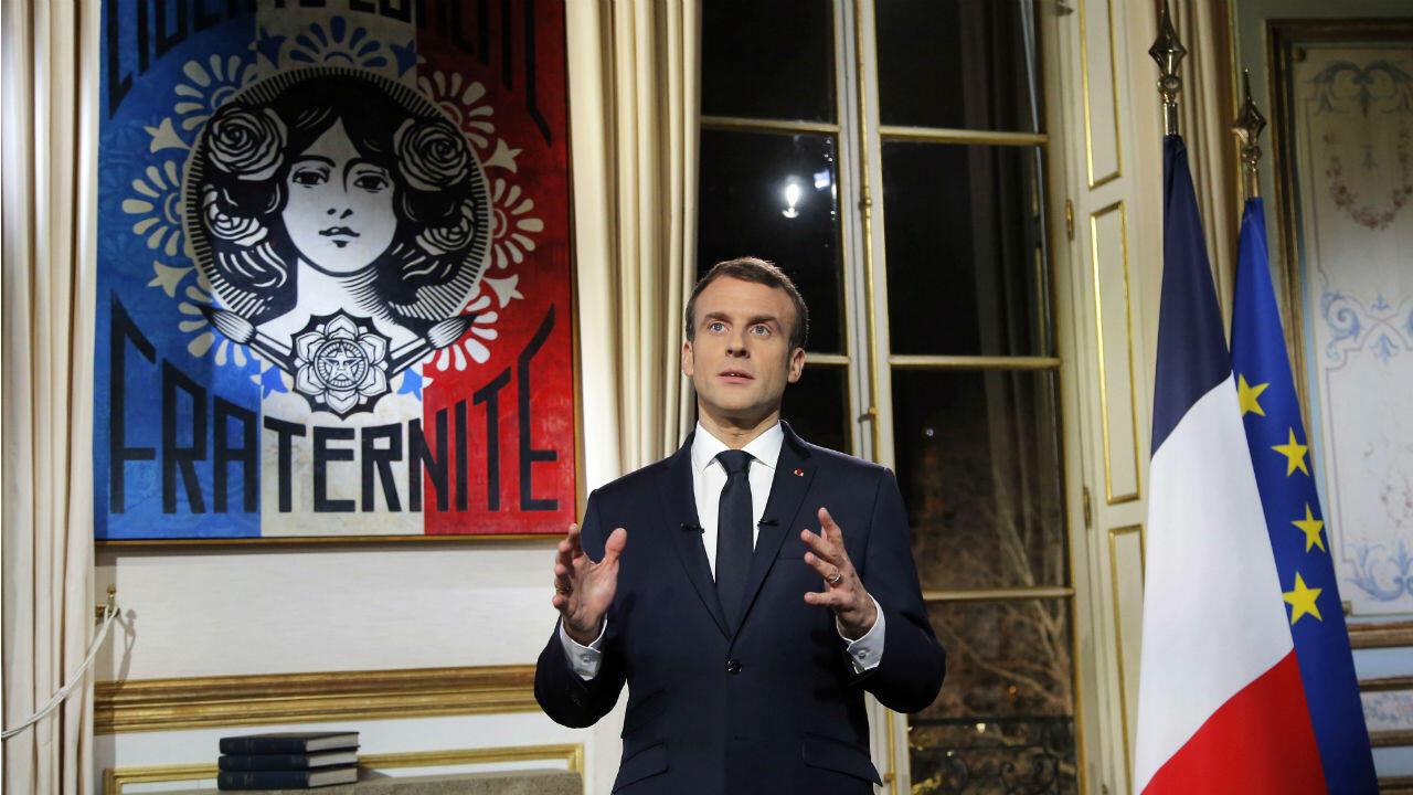 El presidente francés, Emmanuel Macron, dio un mensaje de esperanza y de firmeza a la vez.