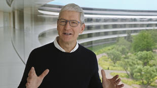 A handout image from a video released by Apple shows CEO Tim Cook at an event on September 15, 2020 in Cupertino, California; the company is expected to unveil a much anticipated iPhone 12 tuned to the 5G networks taking root around the world