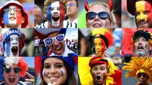 Esta combinación de fotos creadas el 9 de julio de 2018 muestra a los fanáticos de Francia y Bélgica apoyando a su equipo durante el torneo de fútbol de la Copa Mundial Rusia 2018.