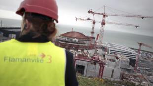 Le chantier de l'EPR de Flamanville en février 2014.