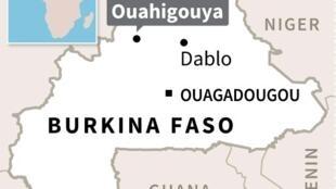 Map of Burkina Faso locating attacks in Ouahigouya and Dablo