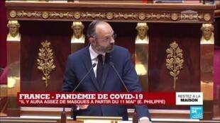 """2020-04-28 15:22 Coronavirus - Philippe devant l'Assemblée : """"Au moins 700 000 tests virologiques par semaine"""", à partir du 11 mai"""
