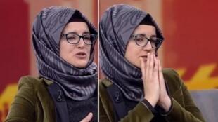 Captura de imagen de la primera aparición de Hatice Cengiz, en el canal turco 'Habertürk'.