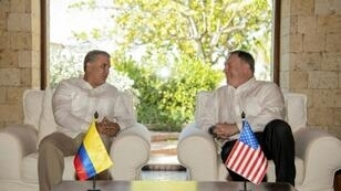 Colombia President Ivan Duque (left) meets with United States Secretary of State Mike Pompeo in Cartagena to discuss Venezuela