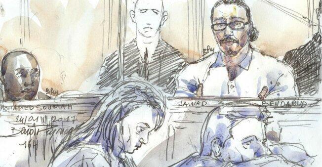Jawad Bendaoud dans le box des accusés au Palais de justice de Paris, le 24 janvier 2018.