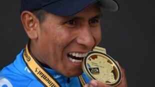 Le Colombien Nairo Quintana, vainqueur de la 18e étape du Tour de France, à Valloire, le 25 juillet 2019