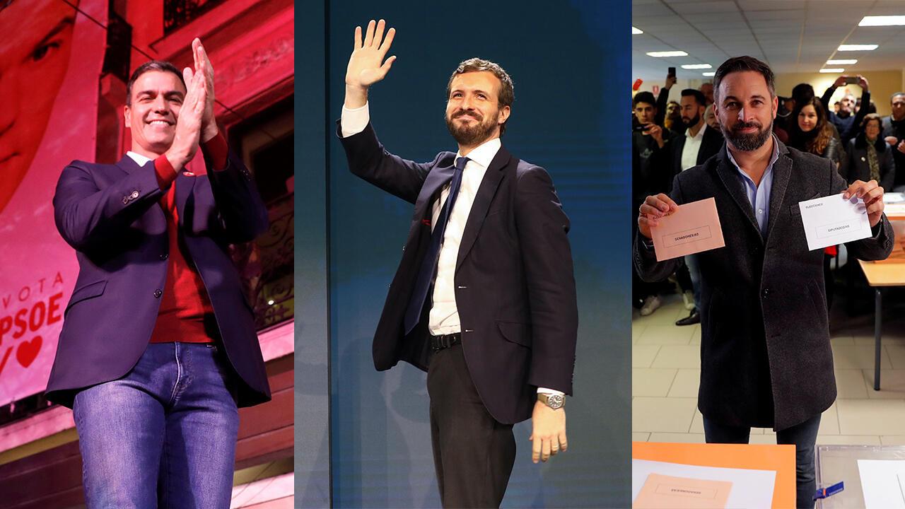 El PSOE ganó de nuevo las elecciones, el PP aumentó su resultado y el partido ultraderechista Vox se consolidó como tercera fuerza política en el Congreso. En la fotografía los líderes del PSOE (Pedro Sánchez), PP (Pablo Casado) y Vox (Santiago Abascal).