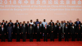 China's President Xi Jinping (front C) and African leaders pose for a group photo during the Forum on China-Africa Cooperation at the Great Hall of the People in Beijing on September 3, 2018.