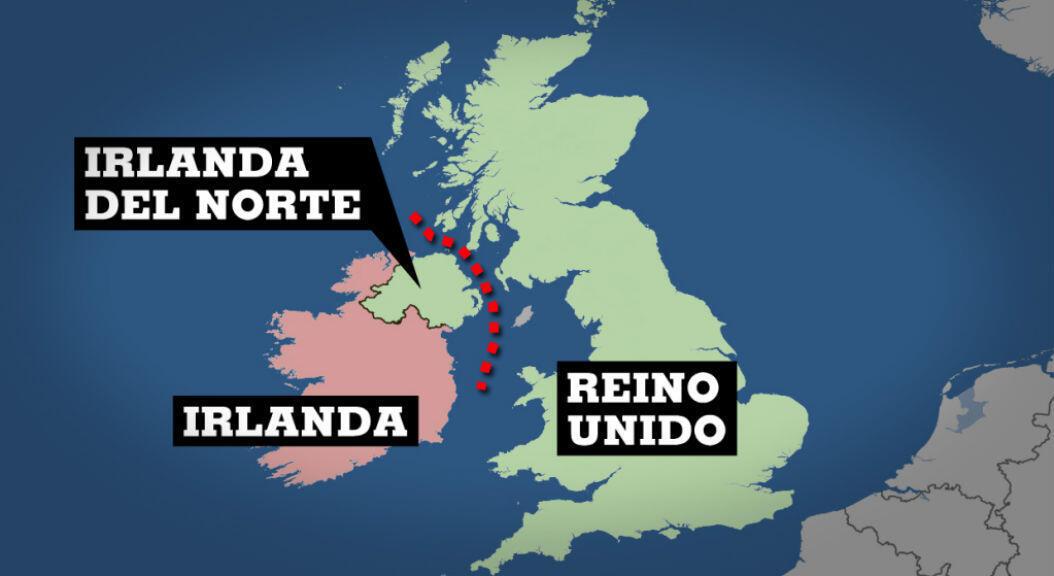 Mapa que ubica a El Reino Unido, la provincia británica de Irlanda del Norte e Irlanda. Indica la eventual frontera en el mar de Irlanda, con fines aduaneros, una vez el Reino Unido salga de la Unión Europea.