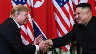Donald Trump et Kim Jong-un, le 27février2019, à Hanoï.