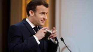 Le président français Emmanuel Macron lors de la réunion en visioconférence de la conférence de Munich sur la sécurité, le 19février2021, à Paris.