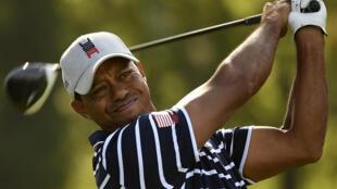 L'Américain Tiger Woods lors de la Ryder Cup 2018, à Saint-Quentin-en-Yvelines, le 28 septembre