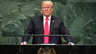 El presidente de EE. UU., Donald Trump, hace una pausa mientras se dirige a la 73ª sesión de la Asamblea General de las Naciones Unidas en en Nueva York, EE.UU., el 25 de septiembre de 2018.