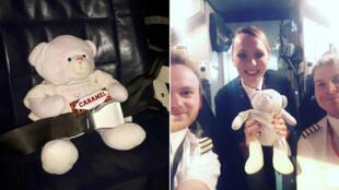 L'équipage a pris soin de l'ours en peluche qui a bénéficié d'un voyage en classe premium.
