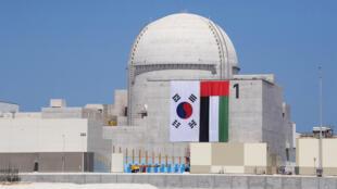 صورة نشرتها وكالة أنباء الإمارات في 26 آذار/مارس 2018 من مراسم انتهاء بناء أول وحدة في محطة براكة النووية في الظفرة