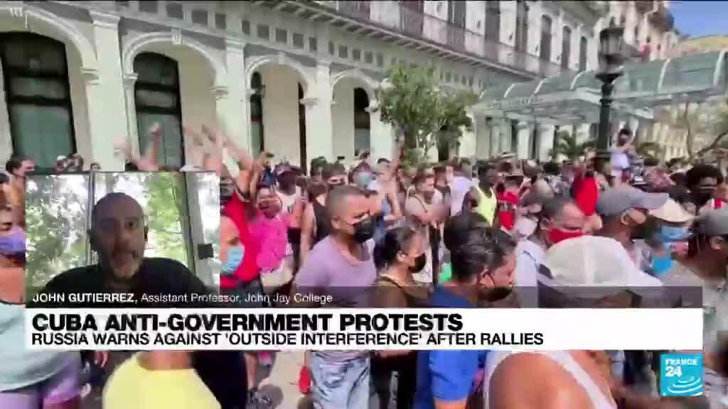 2021-07-12 17:07 Cuba blames unrest on US sanctions, social media campaigns