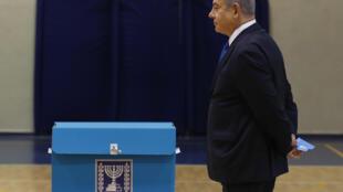 Le Premier ministre israélien, Benjamin Netanyahu , a voté à Jérusalem le 2 mars 2020.