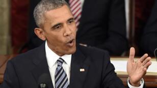 Baracj Obama à la tribune du Congrès, lors de son dernier discours sur l'état de l'Union, mardi 12 janvier.
