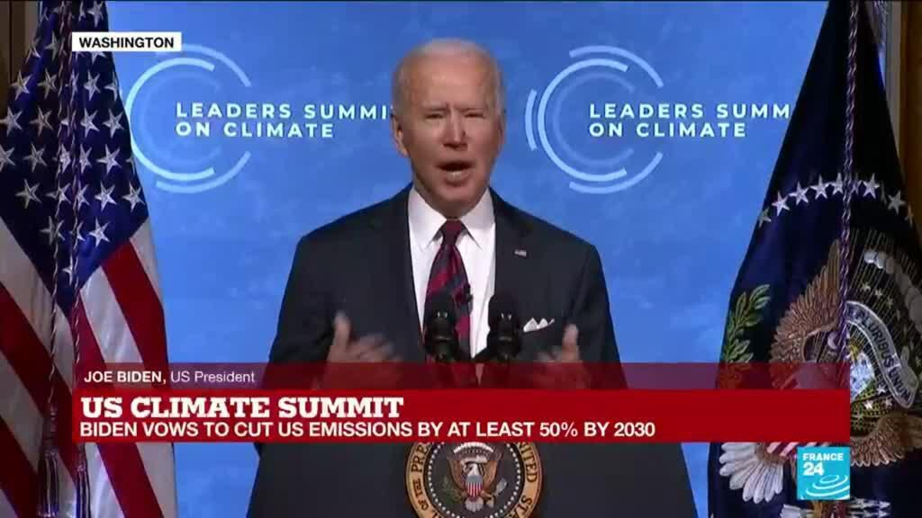 2021-04-22 14:07 Biden vows to cut US emissions by at least 50% by 2030