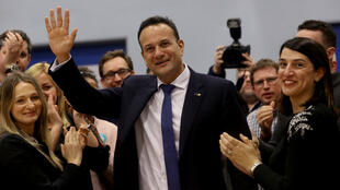 Irish Prime Minister Leo Varadkar reacts after the announcement of voting results, at a count centre during Ireland's national election, in Citywest, near Dublin, Ireland, February 9, 2020.
