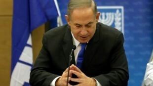 رئيس الوزراء الإسرائيلي بنيامين نتانياهو في الكنيست في 2 كانون الثاني/يناير 2017