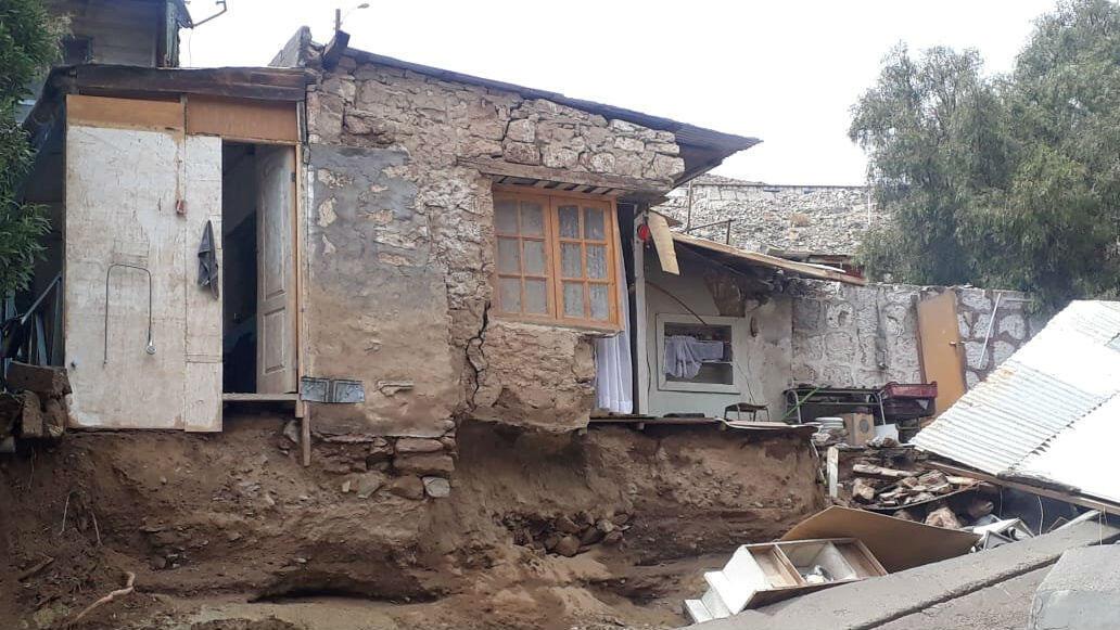 Las fuertes lluvias provocaron una inundación que afectó a una serie de viviendas en la localidad de Conchi Viejo, en la región de Antofagasta, el 5 de febrero de 2019.
