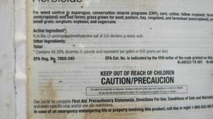The label of the herbicide Engenia shows the presence of Dicamba as one of its ingredients