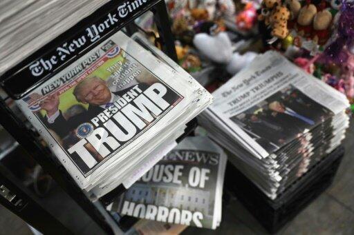نسخ من صحف في نيويورك في 9 تشرين الثاني/نوفمبر 2016