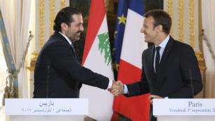 Le Premier ministre libanais Saad Hariri et le président français Emmanuel Macron, vendredi 1er septembre 2017, à Paris.