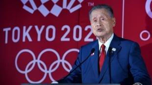 Le président du comité d'organisation des Jeux olympiques de Tokyo le 24 juillet 2019 dans la capitale japonaise