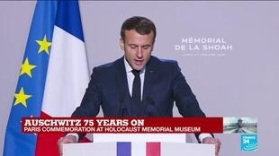 "2020-01-27 12:07 ""Education is an antidote for intolerance,"" says Macron"