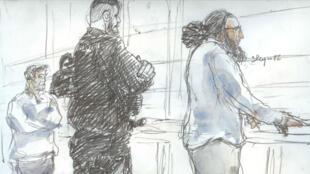 Abdelkader Merah (d) et Fettah Malki (g), dans le banc des accusés, jeudi 2 novembre 2017.