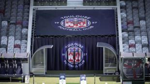 Le logo du TFC, le 22 juillet 2020 au stadium de Toulouse