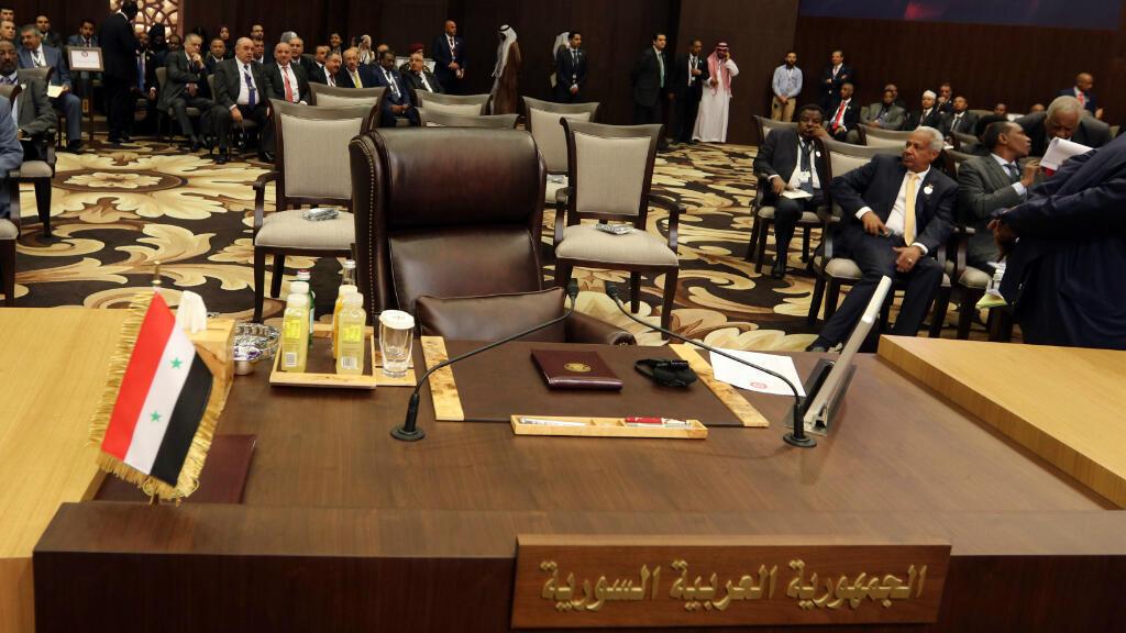 Le siège vide de la Syrie au sommet de la Ligue arabe du 29 mars 2017, à Sweimeh en Jordanie.
