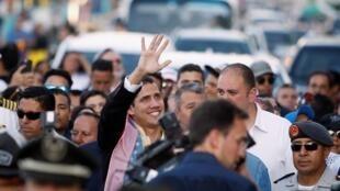 زعيم المعارضة الفنزويلي خوان غوايدو خلال زيارته للإكوادور - 3 مارس/ آذار 2019