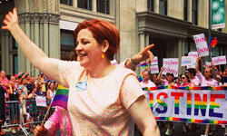 Christine Quinn marching in New York City's gay pride parade earlier this summer (Boss Tweed via Flickr)