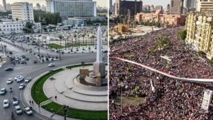 صورة مركبة لميدان التحرير في القاهرة: إلى اليسار في 11 تشرين الأول/نوفمبر 2020، وإلى اليمين في 18 شباط/فبراير 2011 خلال مظاهرة احتفالا بتنحي الرئيس حسني مبارك.