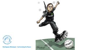 Caricature de Jair Bolsonaro réalisée par le dessinateur mexicain Rodriguez.