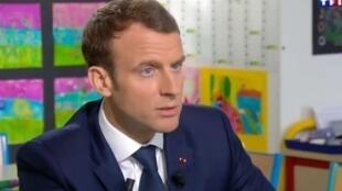 """الرئيس الفرنسي إيمانويل ماكرون في حوار مع القناة الفرنسية الأولى """"تي أف 1"""""""