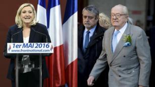 La présidente du Front national, Marine Le Pen, et son père, Jean-Marie Le Pen, co-fondateur du parti d'extrême droite, ont célébré le 1er-Mai chacun de leur côté.