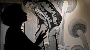 A portrait of imprisond philanthropist Osman Kavala at the Anatolian Cultur Center  in Istanbul