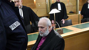 Bernard Preynat, a former priest accused on sexual assaults, waits the beginning of his trial, on January 13, 2020, in the courthouse of Lyon, southeastern France.