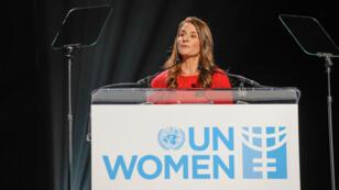 Melinda Gates participe à l'évènement Step It Up for Gender Equality, à l'occasion du 20e anniversaire de la 4e Conférence sur les femmes à Pékin, le 10 mars 2015 à New York.